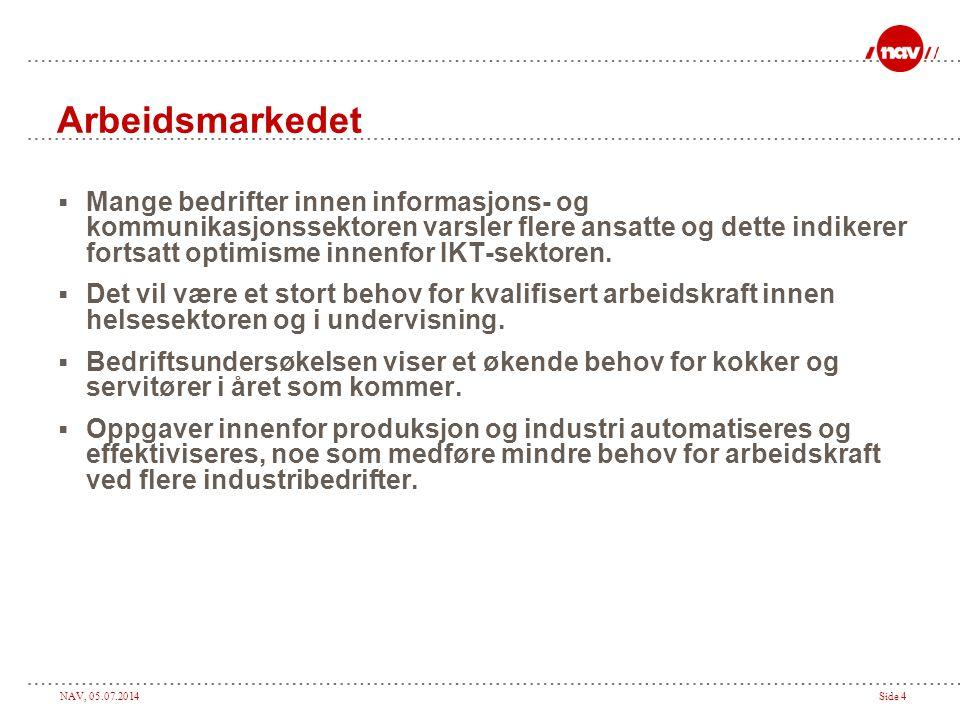 NAV, 05.07.2014Side 4 Arbeidsmarkedet  Mange bedrifter innen informasjons- og kommunikasjonssektoren varsler flere ansatte og dette indikerer fortsat