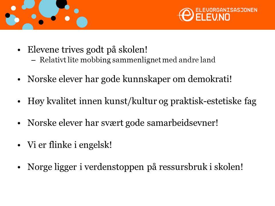•Elevene trives godt på skolen! –Relativt lite mobbing sammenlignet med andre land •Norske elever har gode kunnskaper om demokrati! •Høy kvalitet inne