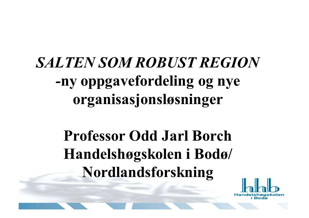 SALTEN SOM ROBUST REGION -ny oppgavefordeling og nye organisasjonsløsninger Professor Odd Jarl Borch Handelshøgskolen i Bodø/ Nordlandsforskning