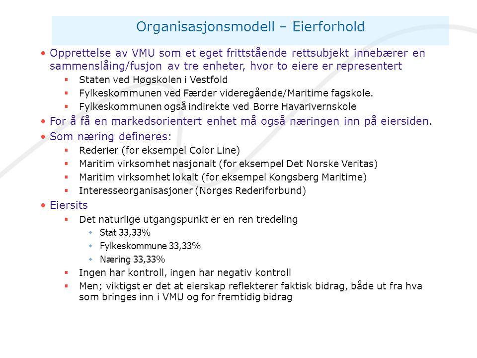 Organisasjonsmodell – Eierforhold •Opprettelse av VMU som et eget frittstående rettsubjekt innebærer en sammenslåing/fusjon av tre enheter, hvor to ei