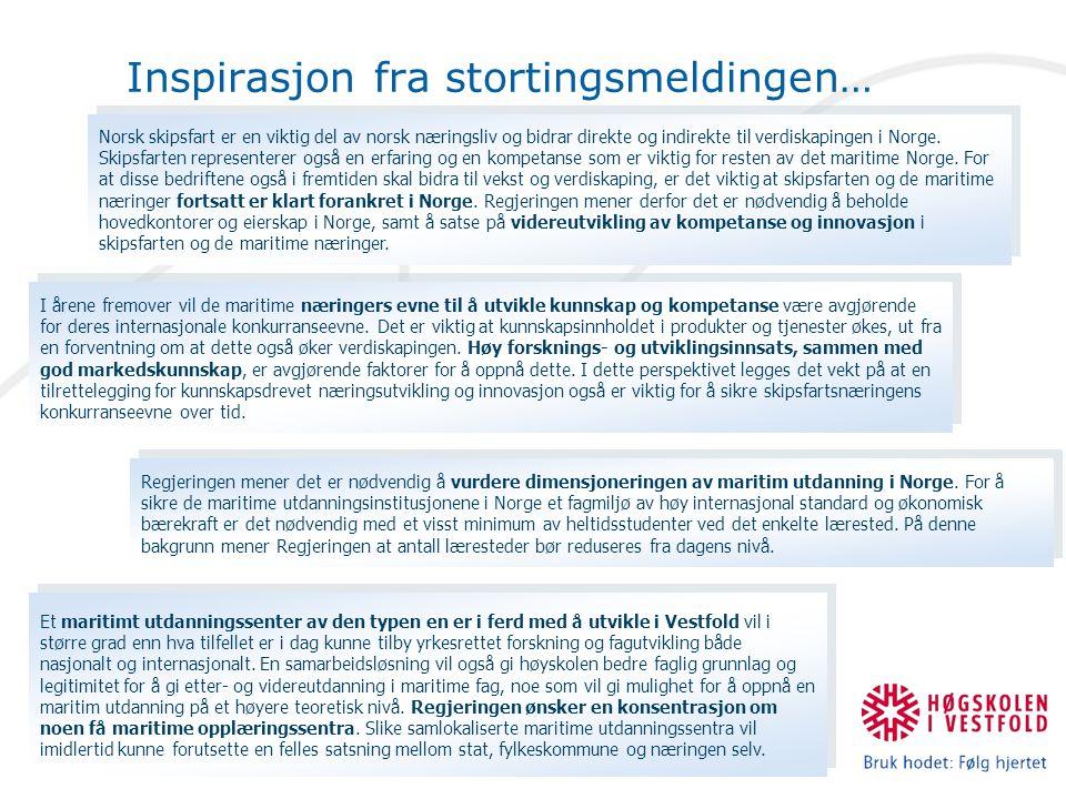 Inspirasjon fra stortingsmeldingen… Norsk skipsfart er en viktig del av norsk næringsliv og bidrar direkte og indirekte til verdiskapingen i Norge. Sk