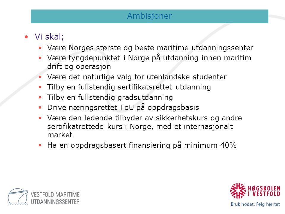 •Vi skal;  Være Norges største og beste maritime utdanningssenter  Være tyngdepunktet i Norge på utdanning innen maritim drift og operasjon  Være d