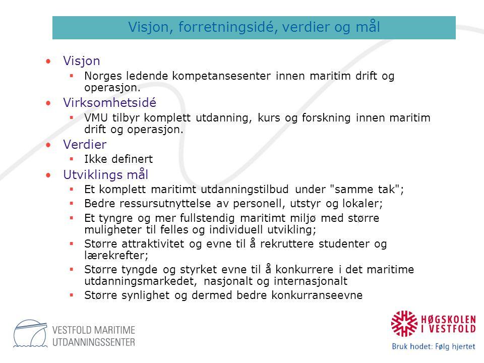 •Visjon  Norges ledende kompetansesenter innen maritim drift og operasjon. •Virksomhetsidé  VMU tilbyr komplett utdanning, kurs og forskning innen m