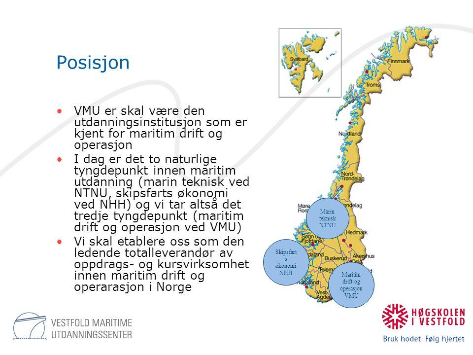 Posisjon •VMU er skal være den utdanningsinstitusjon som er kjent for maritim drift og operasjon •I dag er det to naturlige tyngdepunkt innen maritim