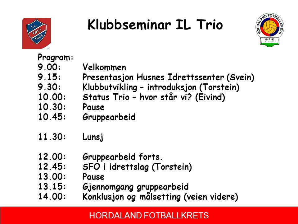 HORDALAND FOTBALLKRETS Klubbseminar IL Trio Program: 9.00: Velkommen 9.15: Presentasjon Husnes Idrettssenter (Svein) 9.30: Klubbutvikling – introduksj