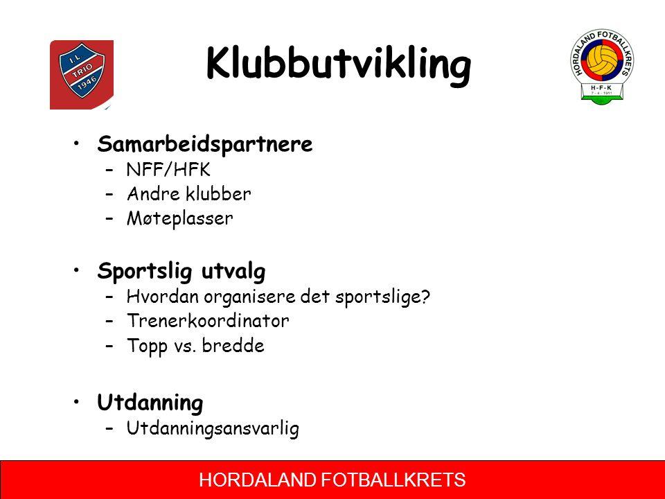 HORDALAND FOTBALLKRETS Klubbutvikling •Samarbeidspartnere –NFF/HFK –Andre klubber –Møteplasser •Sportslig utvalg –Hvordan organisere det sportslige.