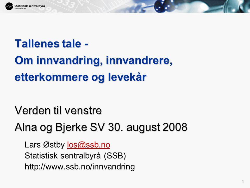 1 1 Tallenes tale - Om innvandring, innvandrere, etterkommere og levekår Verden til venstre Alna og Bjerke SV 30. august 2008 Lars Østby los@ssb.nolos