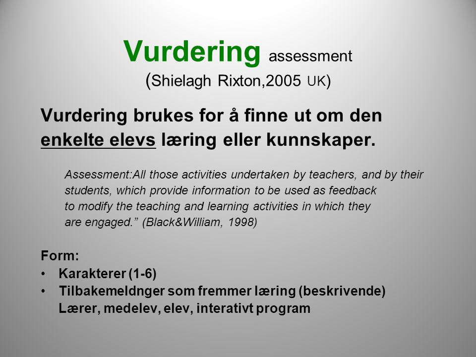 Vurdering assessment ( Shielagh Rixton,2005 UK ) Vurdering brukes for å finne ut om den enkelte elevs læring eller kunnskaper. Assessment:All those a