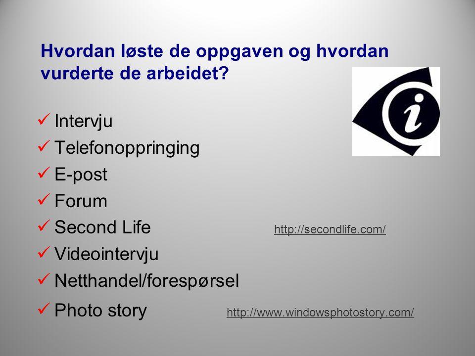 Hvordan løste de oppgaven og hvordan vurderte de arbeidet?  Intervju  Telefonoppringing  E-post  Forum  Second Life http://secondlife.com/ http:/