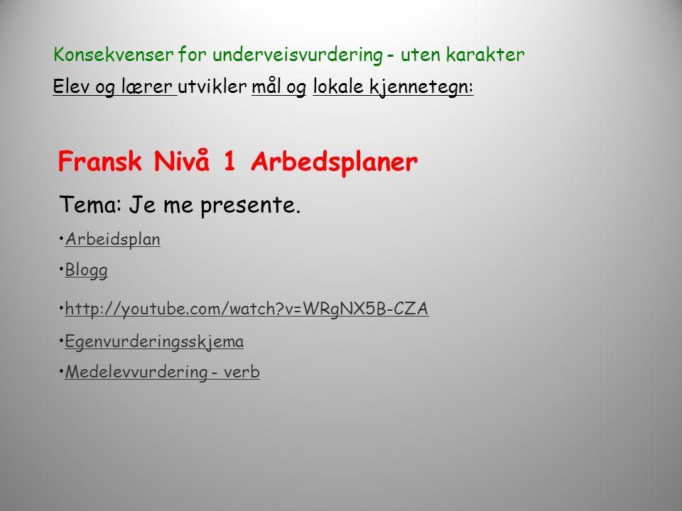 Fransk Nivå 1 Arbedsplaner Tema: Je me presente. •ArbeidsplanArbeidsplan •BloggBlogg •http://youtube.com/watch?v=WRgNX5B-CZAhttp://youtube.com/watch?v