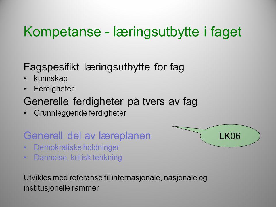 Kompetanse - læringsutbytte i faget Fagspesifikt læringsutbytte for fag •kunnskap •Ferdigheter Generelle ferdigheter på tvers av fag •Grunnleggende fe