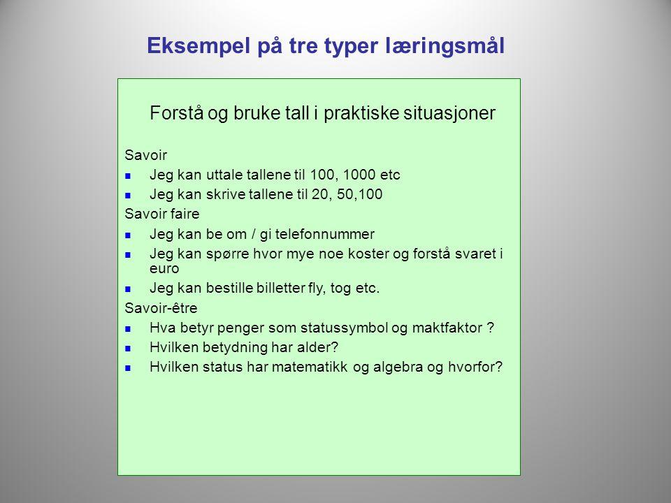 Forstå og bruke tall i praktiske situasjoner Savoir  Jeg kan uttale tallene til 100, 1000 etc  Jeg kan skrive tallene til 20, 50,100 Savoir faire 