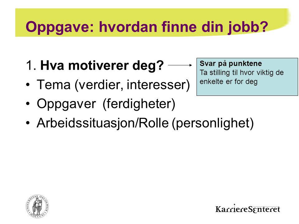 Oppgave: hvordan finne din jobb? 1. Hva motiverer deg? •Tema (verdier, interesser) •Oppgaver (ferdigheter) •Arbeidssituasjon/Rolle (personlighet) Svar