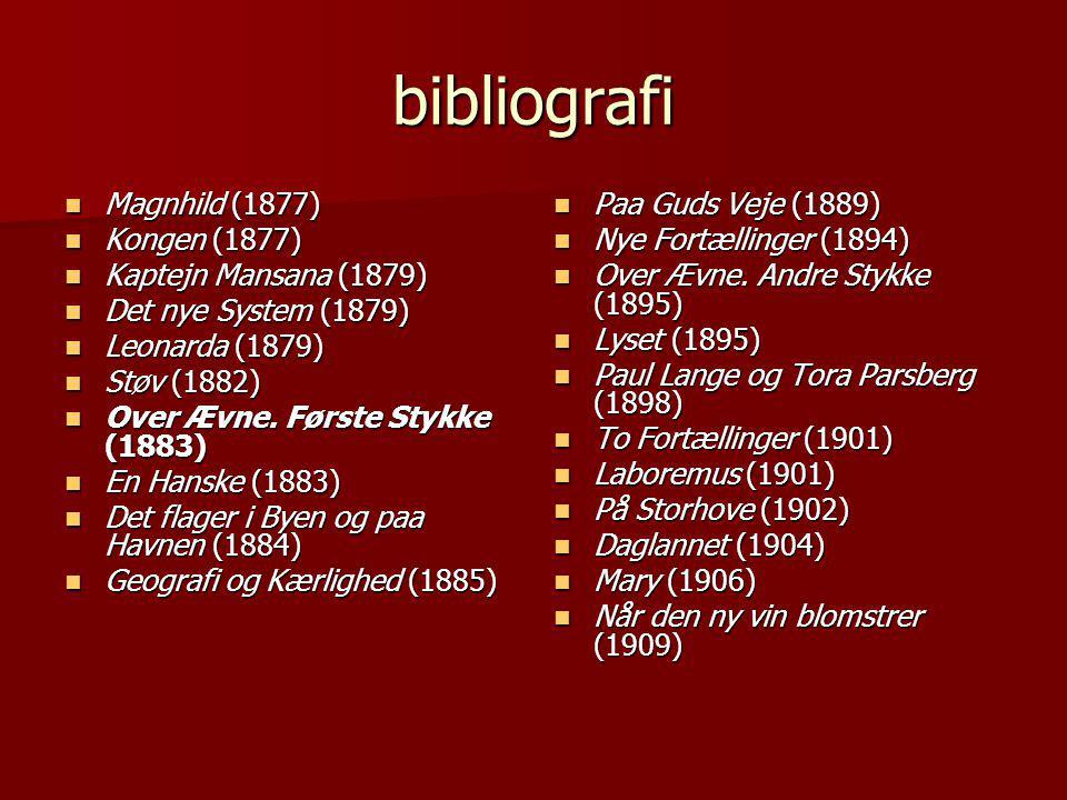 bibliografi  Magnhild (1877)  Kongen (1877)  Kaptejn Mansana (1879)  Det nye System (1879)  Leonarda (1879)  Støv (1882)  Over Ævne.