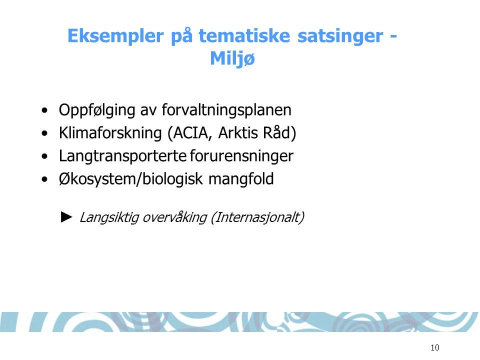 10 Eksempler på tematiske satsinger - Miljø •Oppfølging av forvaltningsplanen •Klimaforskning (ACIA, Arktis Råd) •Langtransporterte forurensninger •Øk