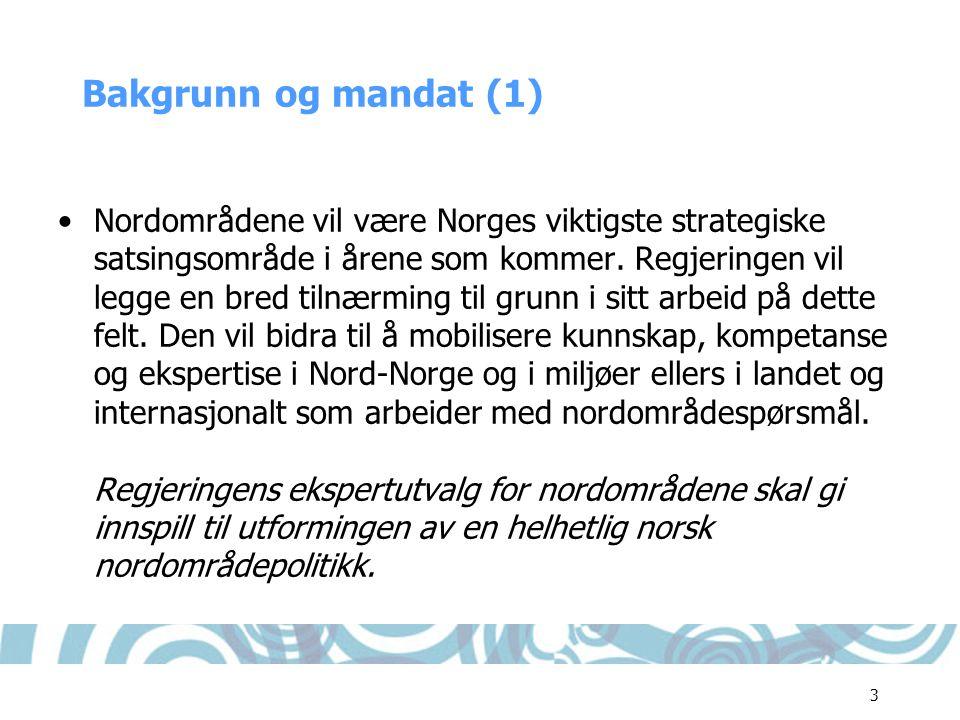 3 Bakgrunn og mandat (1) •Nordområdene vil være Norges viktigste strategiske satsingsområde i årene som kommer. Regjeringen vil legge en bred tilnærmi