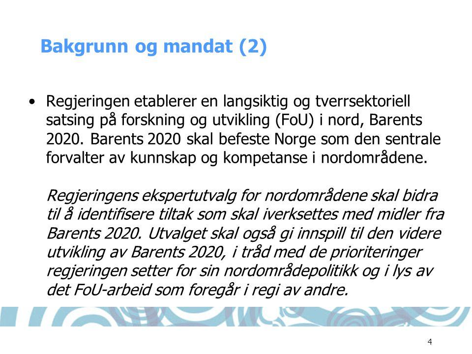 4 Bakgrunn og mandat (2) •Regjeringen etablerer en langsiktig og tverrsektoriell satsing på forskning og utvikling (FoU) i nord, Barents 2020. Barents