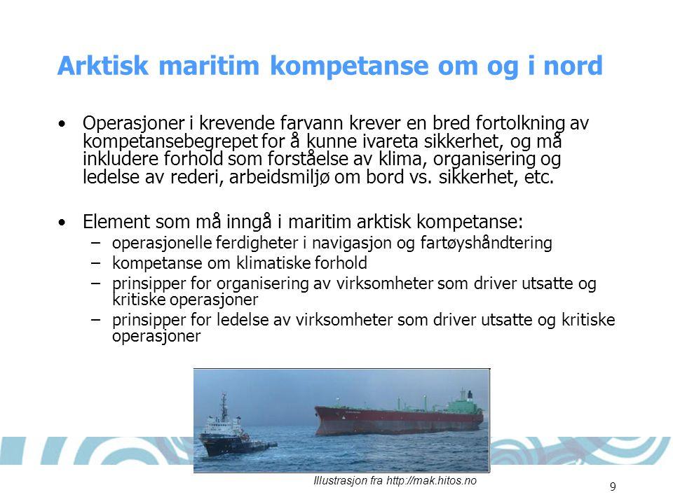 9 Arktisk maritim kompetanse om og i nord •Operasjoner i krevende farvann krever en bred fortolkning av kompetansebegrepet for å kunne ivareta sikkerh