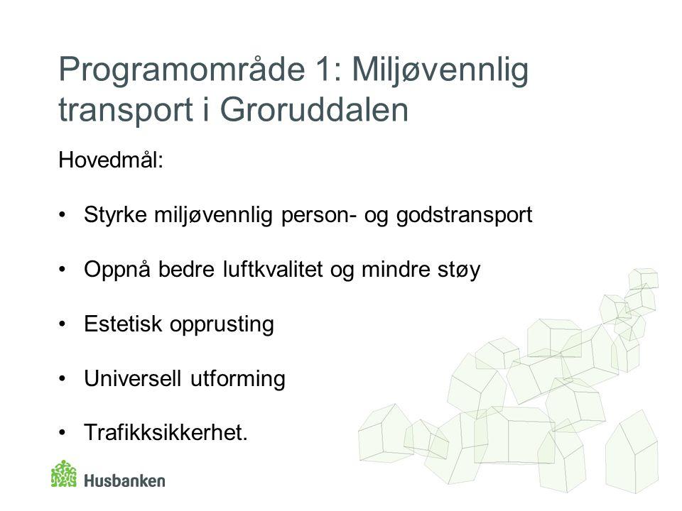 Programområde 1: Miljøvennlig transport i Groruddalen Hovedmål: •Styrke miljøvennlig person- og godstransport •Oppnå bedre luftkvalitet og mindre støy