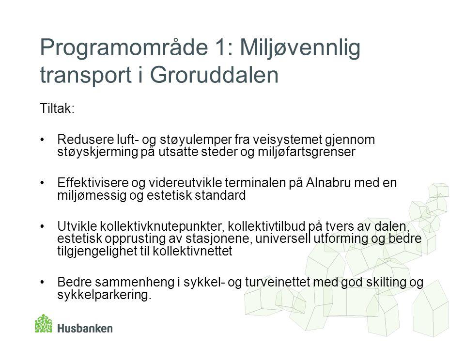 Programområde 1: Miljøvennlig transport i Groruddalen Tiltak: •Redusere luft- og støyulemper fra veisystemet gjennom støyskjerming på utsatte steder o
