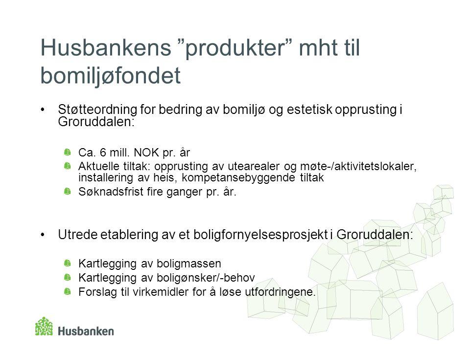 """Husbankens """"produkter"""" mht til bomiljøfondet •Støtteordning for bedring av bomiljø og estetisk opprusting i Groruddalen: Ca. 6 mill. NOK pr. år Aktuel"""