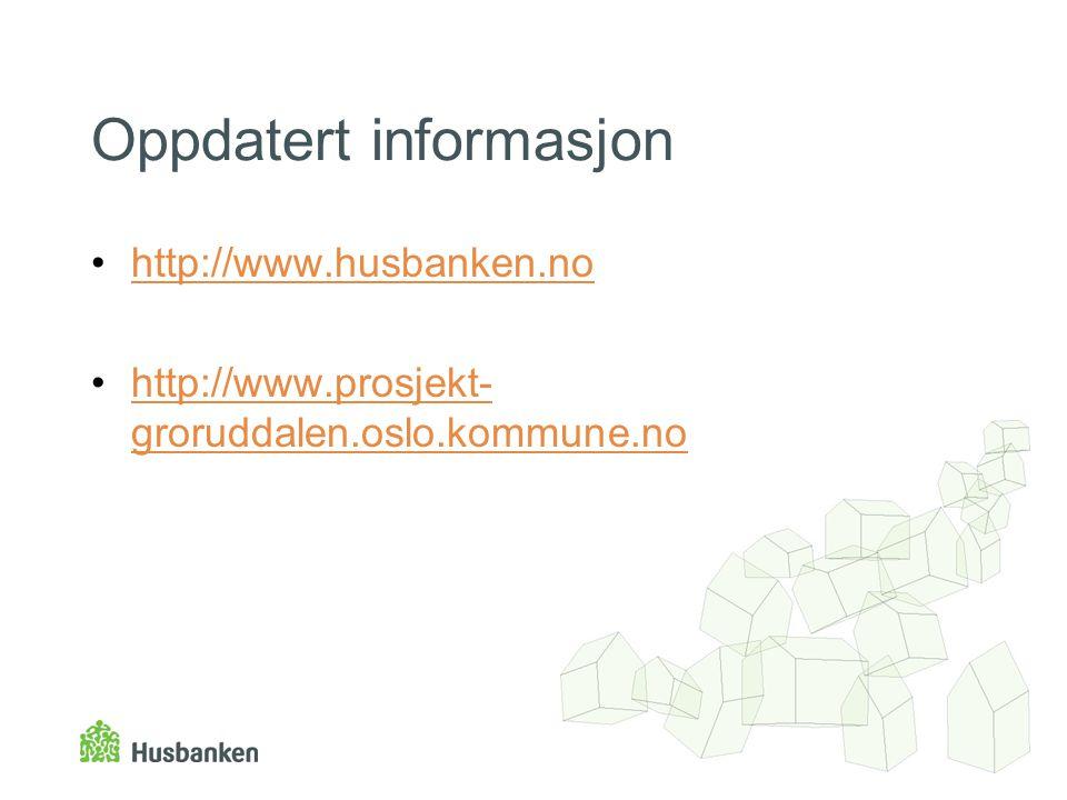 Oppdatert informasjon •http://www.husbanken.nohttp://www.husbanken.no •http://www.prosjekt- groruddalen.oslo.kommune.nohttp://www.prosjekt- groruddale