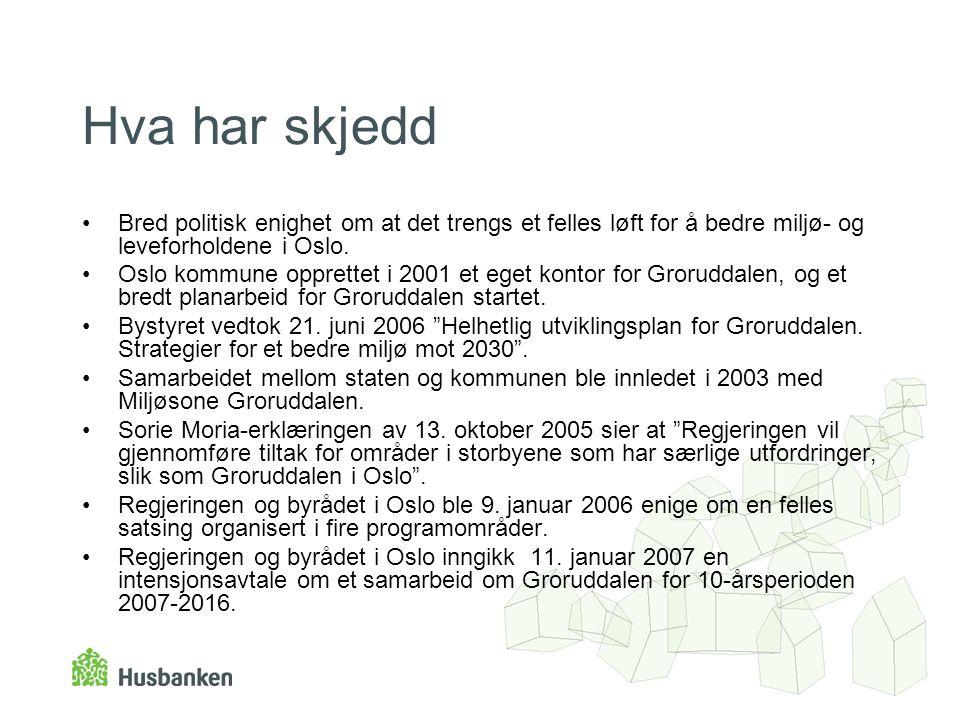 Hva har skjedd •Bred politisk enighet om at det trengs et felles løft for å bedre miljø- og leveforholdene i Oslo. •Oslo kommune opprettet i 2001 et e
