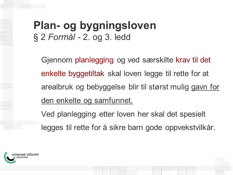 Plan- og bygningsloven § 2 Formål - 2. og 3.