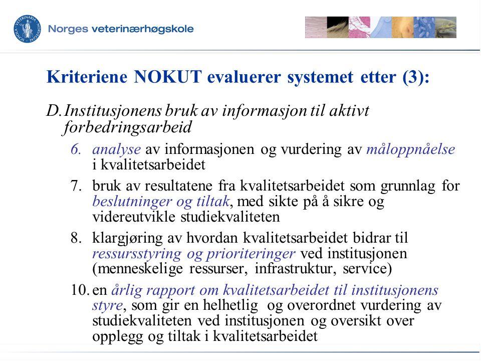 Kriteriene NOKUT evaluerer systemet etter (3): D.Institusjonens bruk av informasjon til aktivt forbedringsarbeid 6.analyse av informasjonen og vurderi