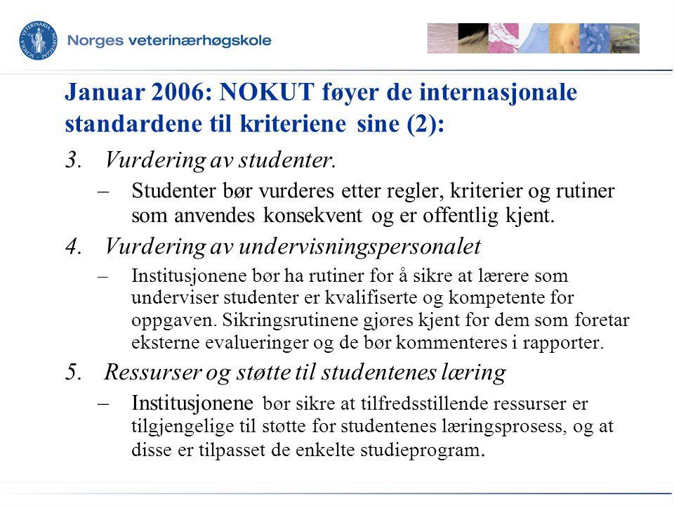 Januar 2006: NOKUT føyer de internasjonale standardene til kriteriene sine (2): 3.Vurdering av studenter. –Studenter bør vurderes etter regler, kriter