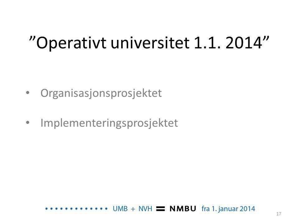 """""""Operativt universitet 1.1. 2014"""" • Organisasjonsprosjektet • Implementeringsprosjektet 17"""