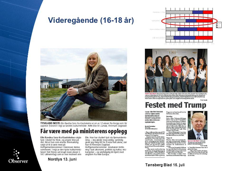 Videregående (16-18 år) Nordlys 13. juni Tønsberg Blad 15. juli