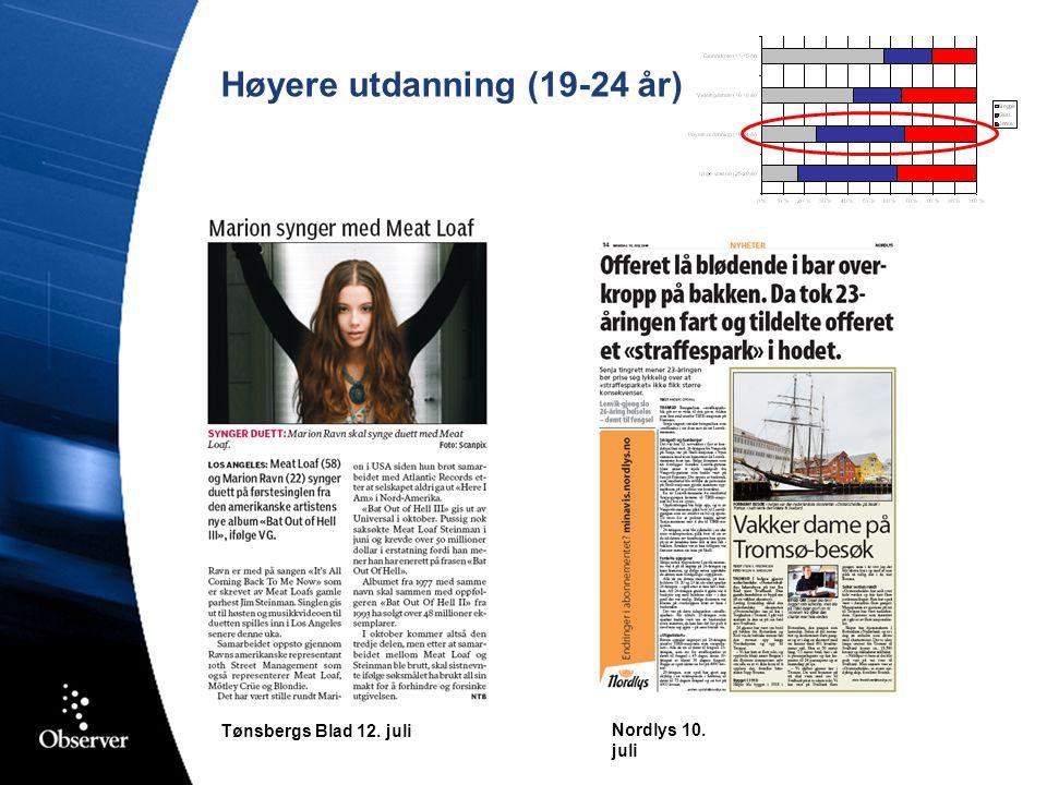 Høyere utdanning (19-24 år) Nordlys 10. juli Tønsbergs Blad 12. juli