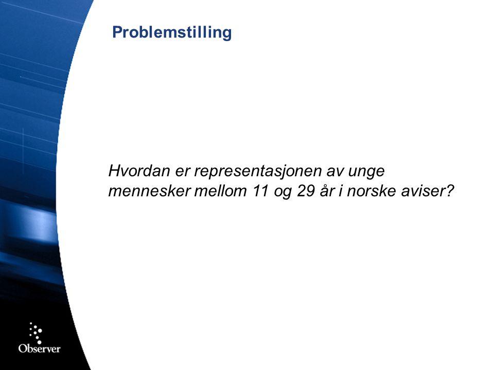 Problemstilling Hvordan er representasjonen av unge mennesker mellom 11 og 29 år i norske aviser?