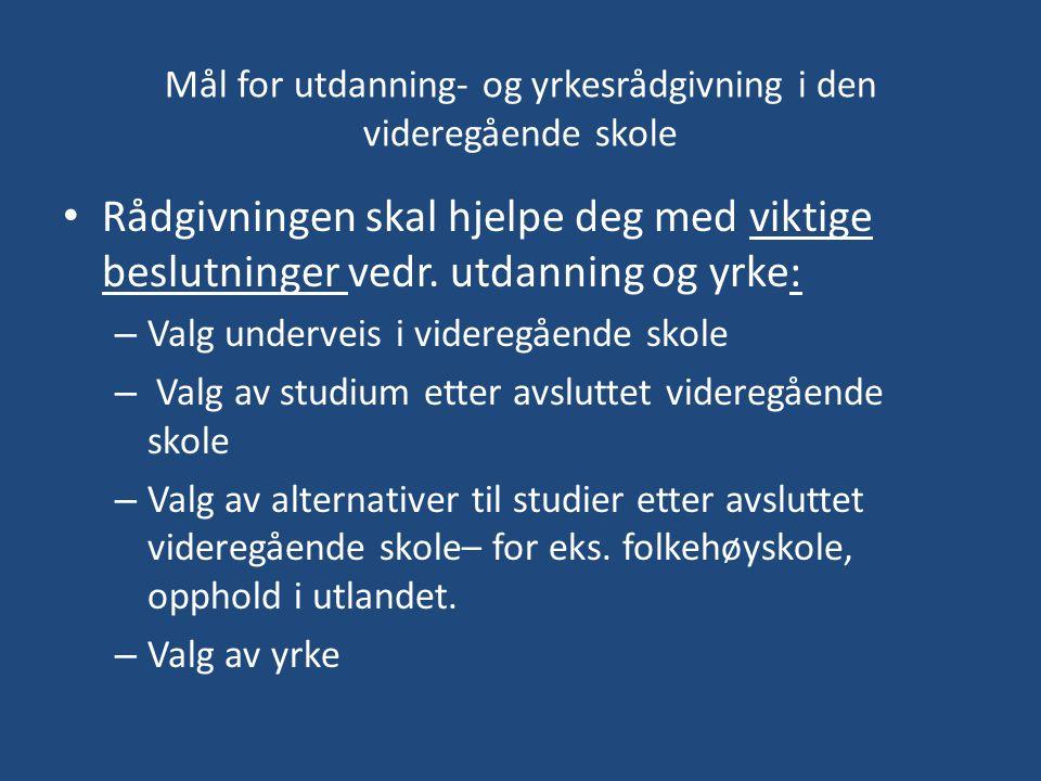 Valg av høyere utdanning • Norge har følgende offentlige høyere utdanningsinstitusjoner: 8 Universiteter, 32 høyskoler, 7 vitenskapelig høyskoler, og 2 statlige kunsthøyskoler.