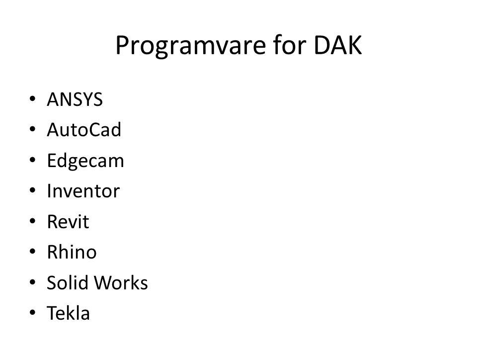 Programvare for DAK • ANSYS • AutoCad • Edgecam • Inventor • Revit • Rhino • Solid Works • Tekla