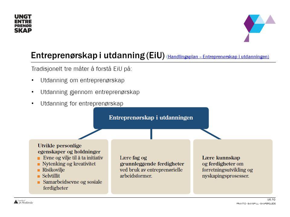 ue.no Entreprenørskap i utdanning (EiU) (Handlingsplan – Entreprenørskap i utdanningen)Handlingsplan – Entreprenørskap i utdanningen) FRAMTID - SAMSPILL - SKAPERGLEDE Tradisjonelt tre måter å forstå EiU på: • Utdanning om entreprenørskap • Utdanning gjennom entreprenørskap • Utdanning for entreprenørskap