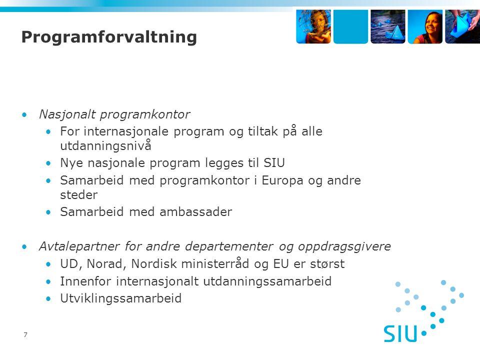 7 Programforvaltning •Nasjonalt programkontor •For internasjonale program og tiltak på alle utdanningsnivå •Nye nasjonale program legges til SIU •Sama