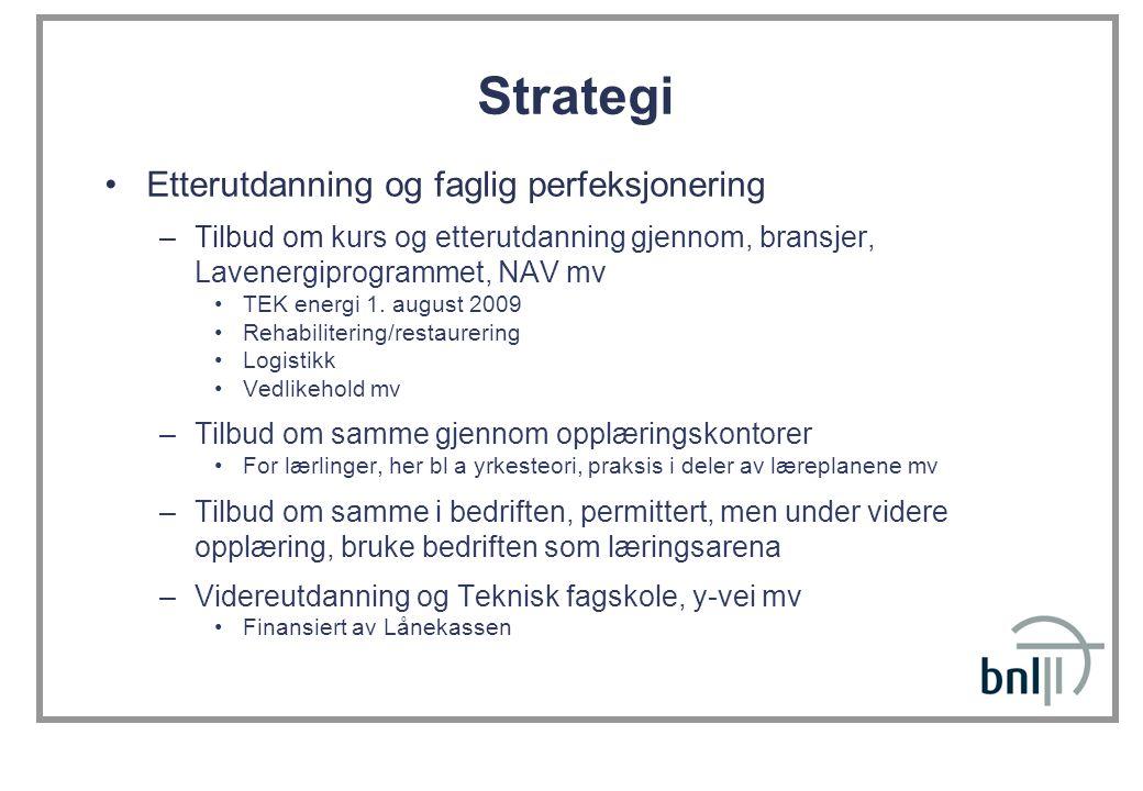 Strategi •Etterutdanning og faglig perfeksjonering –Tilbud om kurs og etterutdanning gjennom, bransjer, Lavenergiprogrammet, NAV mv •TEK energi 1.