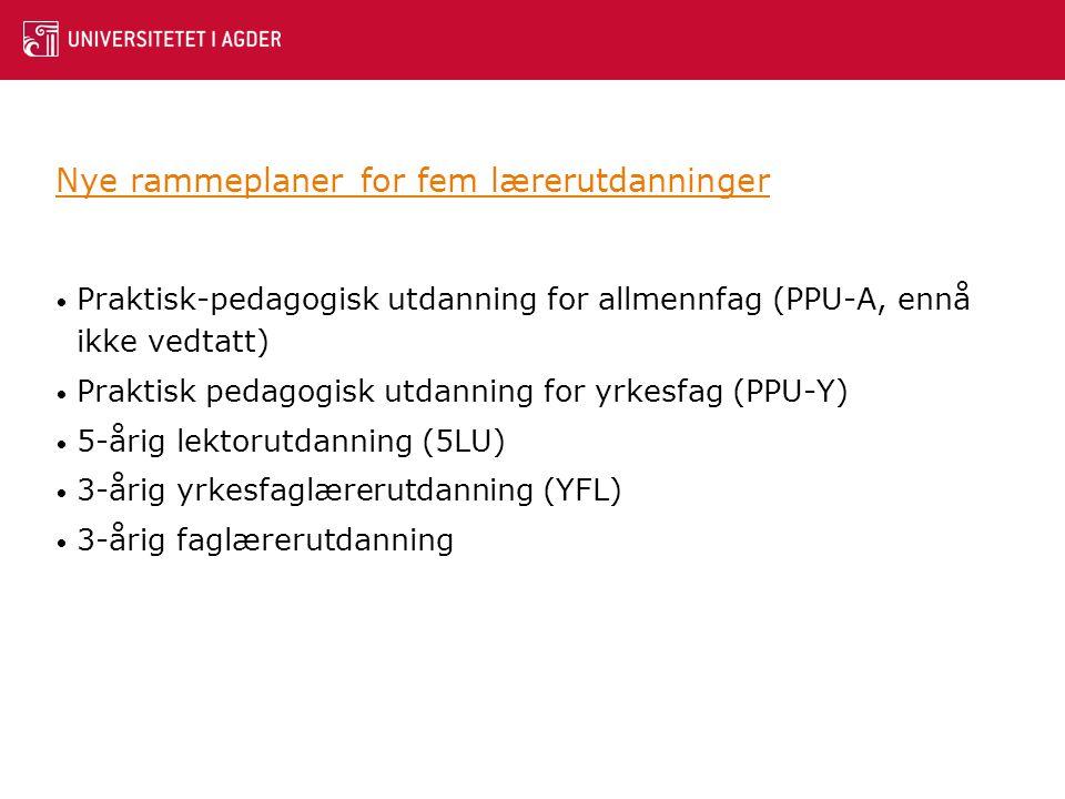 Nye rammeplaner for fem lærerutdanninger • Praktisk-pedagogisk utdanning for allmennfag (PPU-A, ennå ikke vedtatt) • Praktisk pedagogisk utdanning for