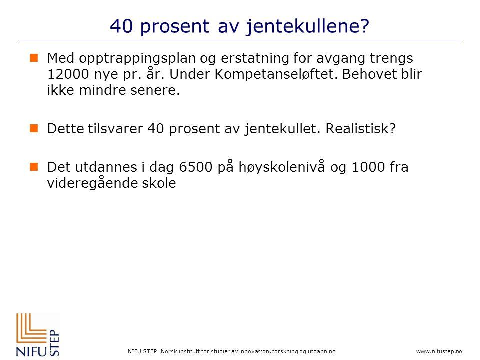 NIFU STEP Norsk institutt for studier av innovasjon, forskning og utdanning www.nifustep.no 40 prosent av jentekullene?  Med opptrappingsplan og erst