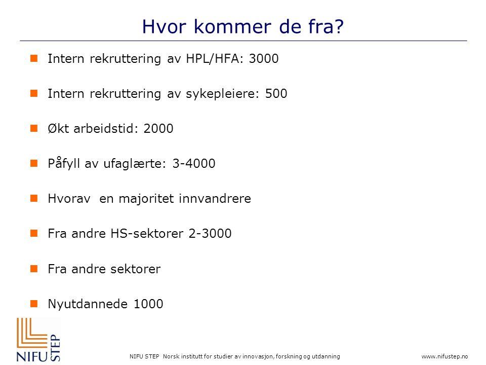NIFU STEP Norsk institutt for studier av innovasjon, forskning og utdanning www.nifustep.no Hvor kommer de fra?  Intern rekruttering av HPL/HFA: 3000