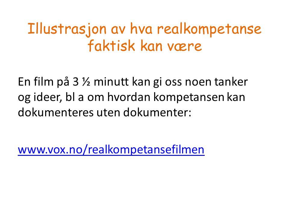 Illustrasjon av hva realkompetanse faktisk kan være En film på 3 ½ minutt kan gi oss noen tanker og ideer, bl a om hvordan kompetansen kan dokumenteres uten dokumenter: www.vox.no/realkompetansefilmen