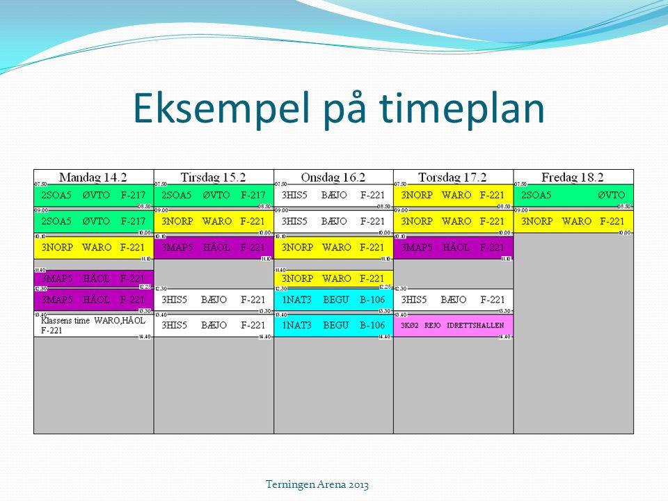 Eksempel på timeplan Terningen Arena 2013
