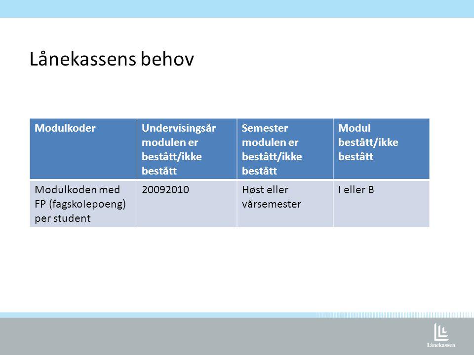 Lånekassens behov ModulkoderUndervisingsår modulen er bestått/ikke bestått Semester modulen er bestått/ikke bestått Modul bestått/ikke bestått Modulkoden med FP (fagskolepoeng) per student 20092010Høst eller vårsemester I eller B