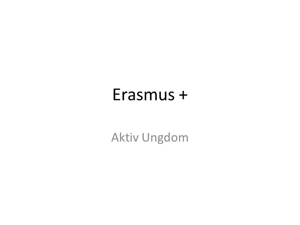 Erasmus + Aktiv Ungdom