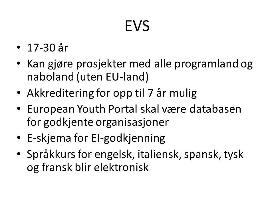 EVS • 17-30 år • Kan gjøre prosjekter med alle programland og naboland (uten EU-land) • Akkreditering for opp til 7 år mulig • European Youth Portal skal være databasen for godkjente organisasjoner • E-skjema for EI-godkjenning • Språkkurs for engelsk, italiensk, spansk, tysk og fransk blir elektronisk