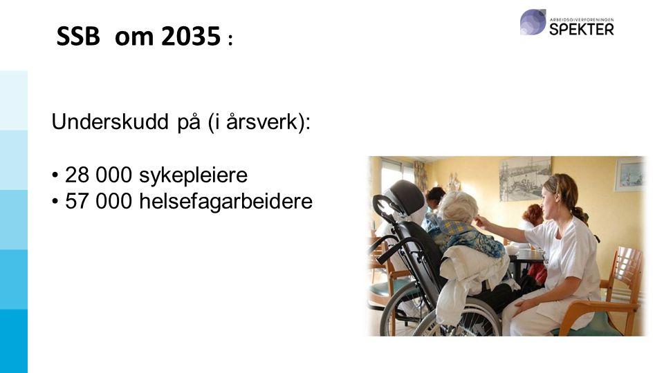 SSB om 2035 : Underskudd på (i årsverk): • 28 000 sykepleiere • 57 000 helsefagarbeidere