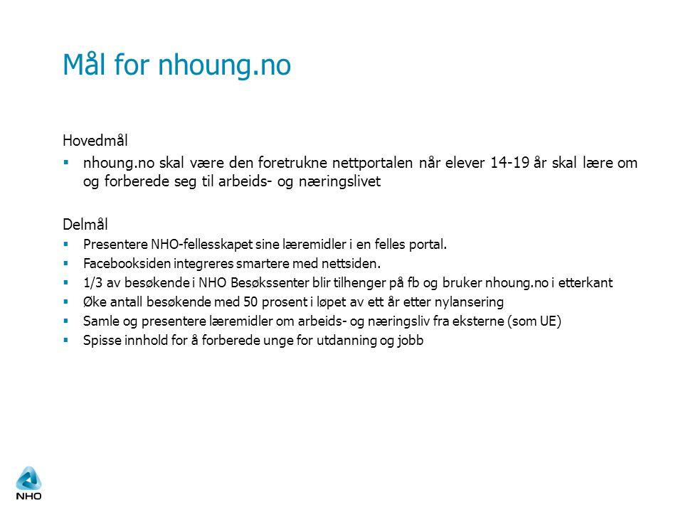 Mål for nhoung.no Hovedmål  nhoung.no skal være den foretrukne nettportalen når elever 14-19 år skal lære om og forberede seg til arbeids- og nærings