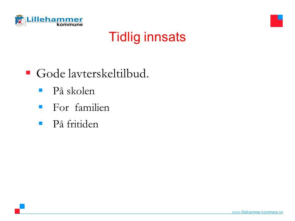 www.lillehammer.kommune.no Tidlig innsats  Gode lavterskeltilbud.  På skolen  For familien  På fritiden